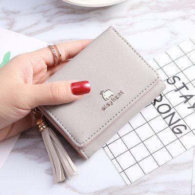 Dompet Lipat Mini Aplikasi Tassel Abu-Abu