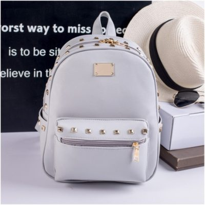 Grosir Backpack Studded Abu-Abu