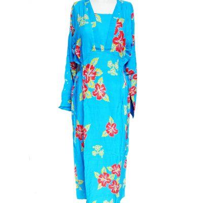 Daster Batik Lengan Panjang Bunga Kamboja Biru