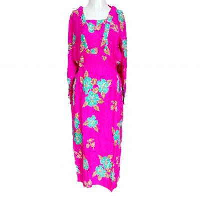 Daster Batik Lengan Panjang Bunga Kamboja Pink
