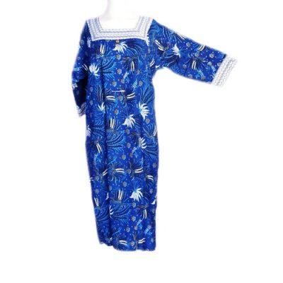 Daster Batik Merak Lengan Panjang Warna Biru