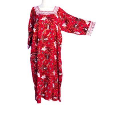 Daster Batik Merak Lengan Panjang Warna Merah