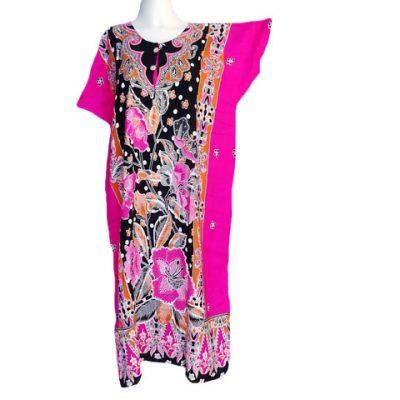 Daster Lengan Pendek Bunga Mahkota Warna Pink