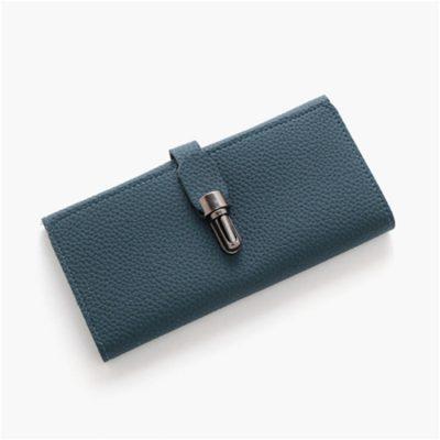 Dompet Lipat Logam Kunci Selip Warna Biru Muda