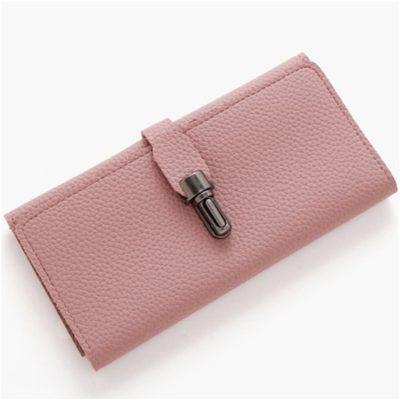 Dompet Lipat Logam Kunci Selip Warna Pink