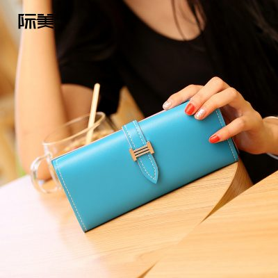 Dompet Panjang Lipat Simple Warna Biru