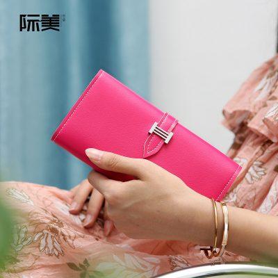 Dompet Panjang Lipat Simple Warna Merah Mawar