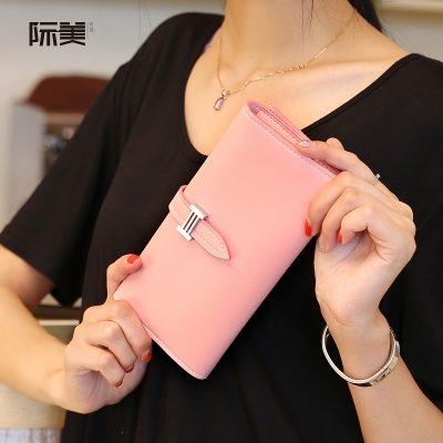 Dompet Panjang Lipat Simple Warna Merah Muda