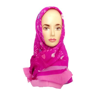 Jilbab Motif Bunga Ansania Magenta
