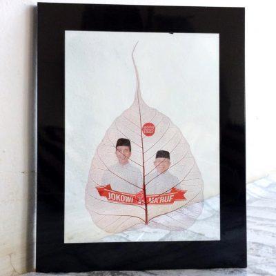 Souvenir Daun Gambar Jokowi & Ma'ruf