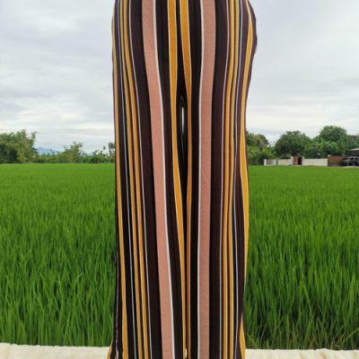 Grosir Celana Kulot Bahan Crepe Motif Salur Unik